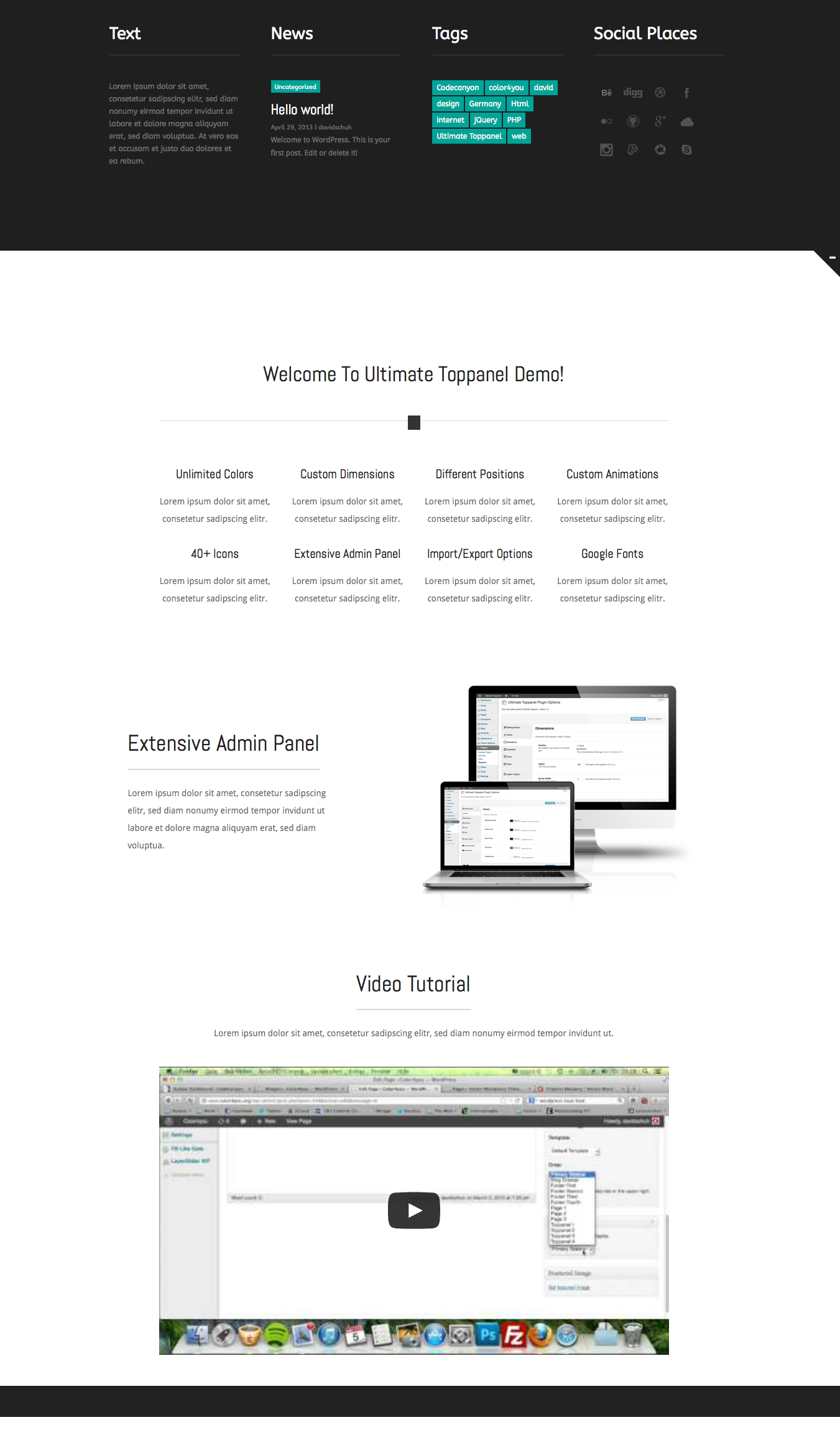 Ultimate Toppanel - Wordpress Plugin