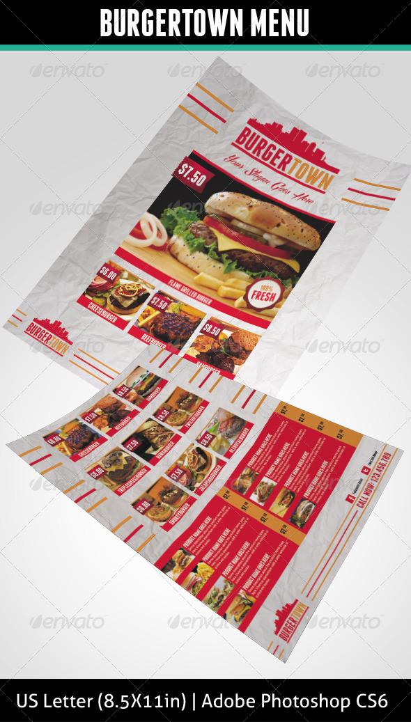 GraphicRiver Burgertown Food Menu Flyer 4665814