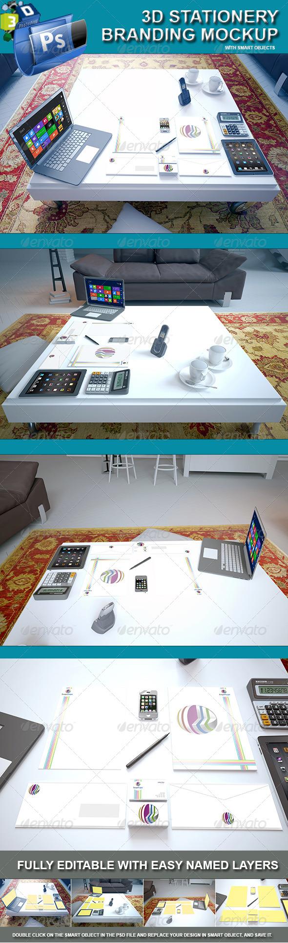 3d Stationery Branding Mockup - Living Room Scene