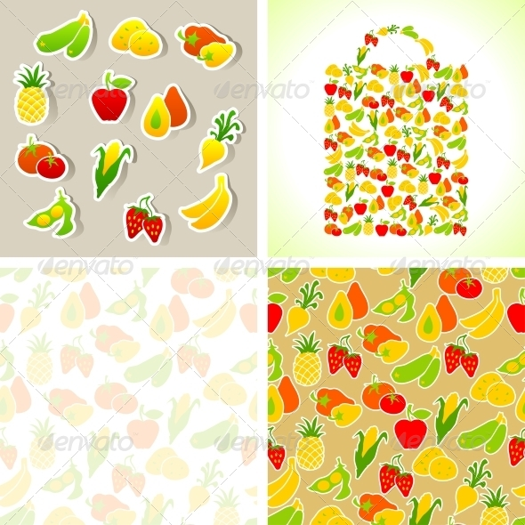 Set of Fruit and Vegetables Stickers and Patterns.