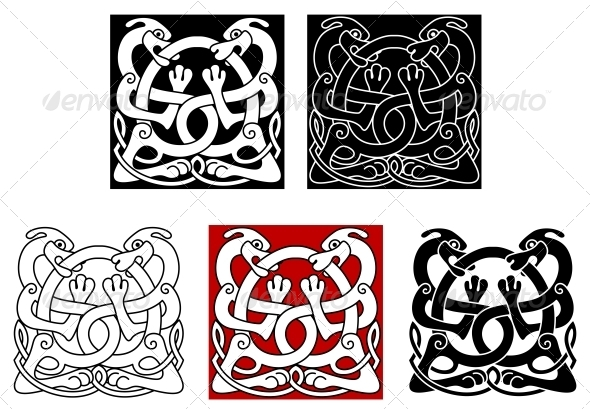 GraphicRiver Dogs with Celtic Ornament 4666066