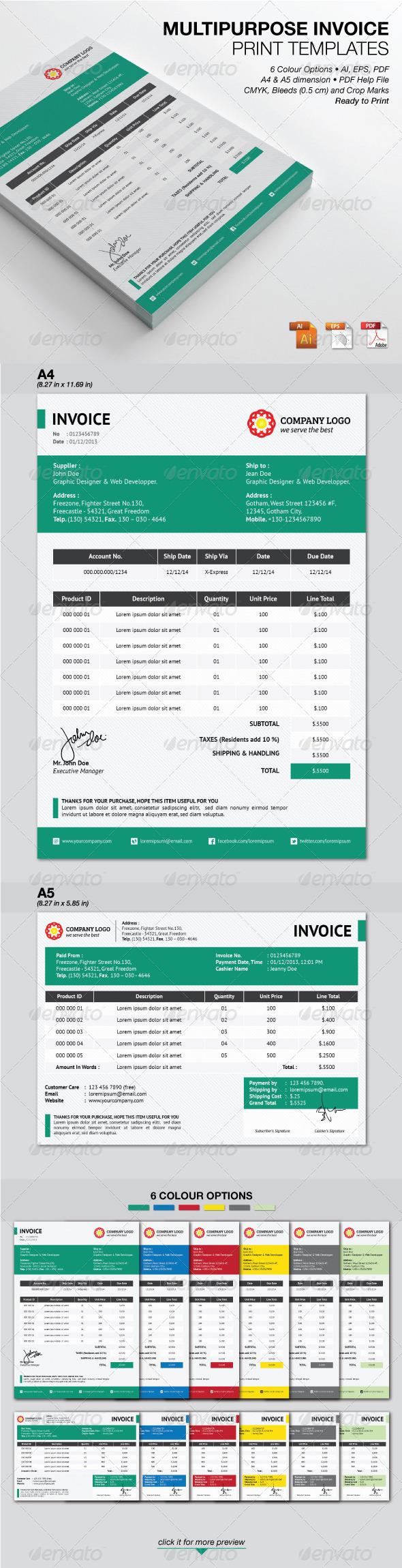 GraphicRiver Multipurpose Invoice Print Templates 4599186