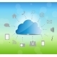 Cloud Computing Vector Illustration on Nature Back - GraphicRiver Item for Sale