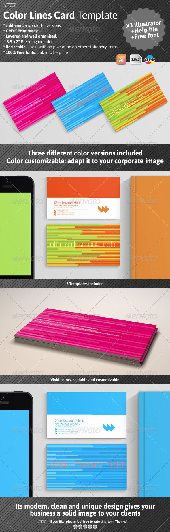 GraphicRiver Color Lines Card Template 4595793