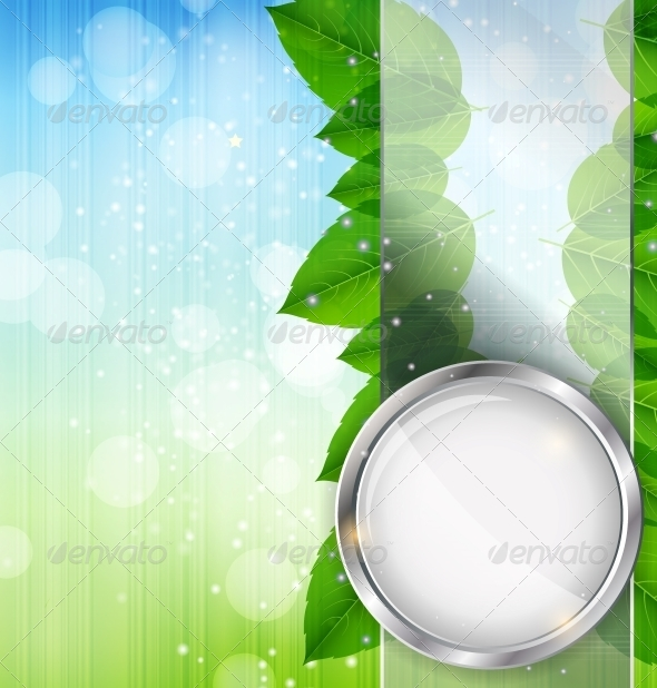 GraphicRiver Abstract Background with Leaves and Glass Frame 4666648