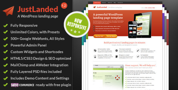 JustLanded - WordPress Landing Page - ThemeForest Item for Sale