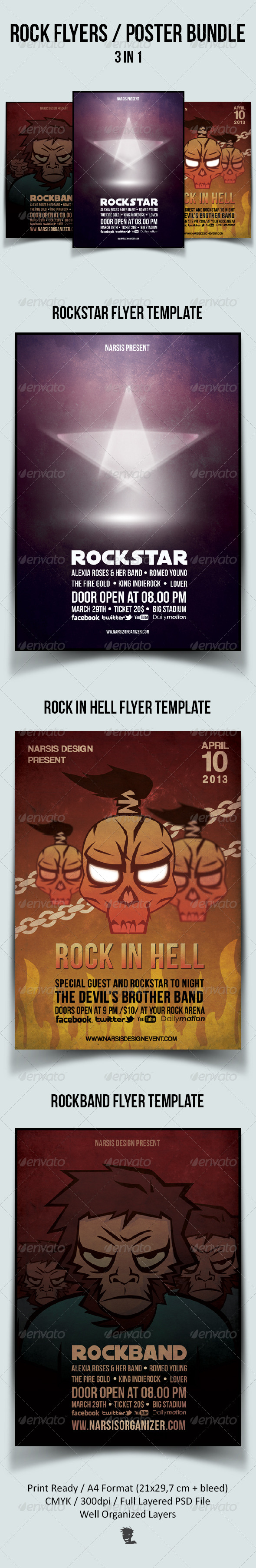 GraphicRiver Rock Flyers Posters Bundle 4602490
