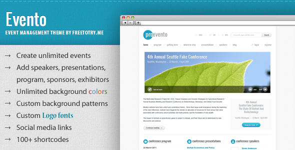 ThemeForest Evento Event Management WordPress Theme 488278