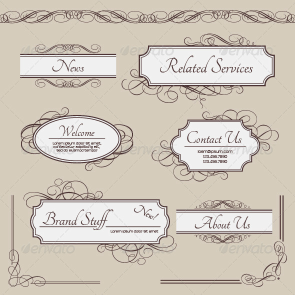 Set of Vintage Vector Labels Frames Borders