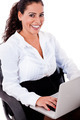 Smiling business woman with laptop - PhotoDune Item for Sale