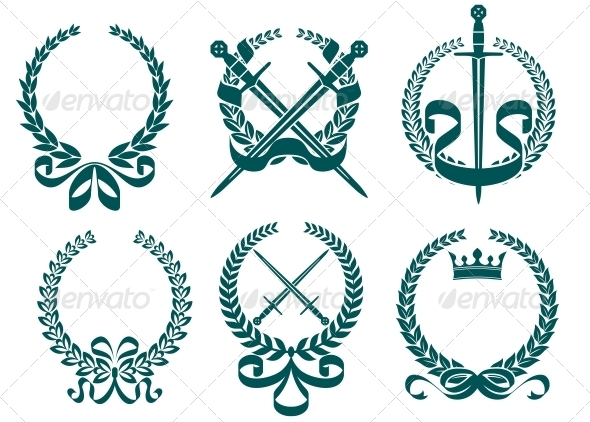 GraphicRiver Laurel Wreathes with Heraldry Elements 4667237