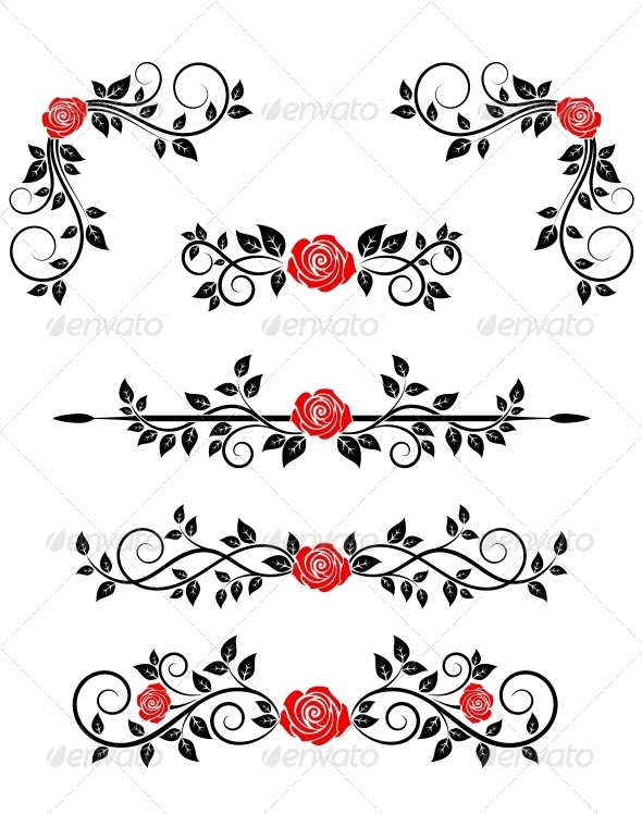 GraphicRiver Roses with Floral Embellishments 4667414