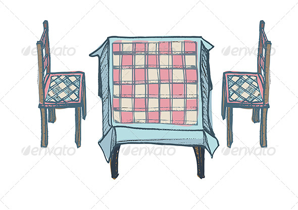 GraphicRiver Kitchen Table Two Chairs with Chequered Pattern 4667537