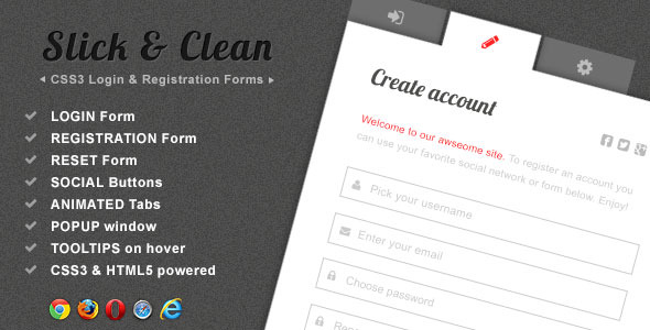 CodeCanyon Slick & Clean CSS3 Login and Register Forms Pack 4668283