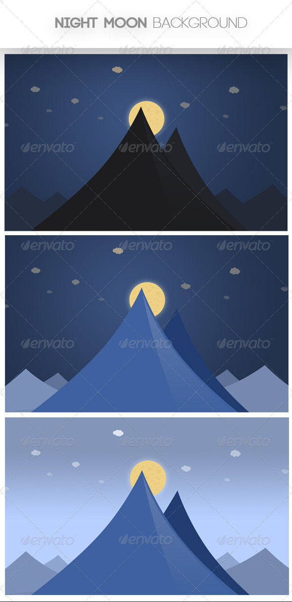 GraphicRiver Night Moon Background 4668413