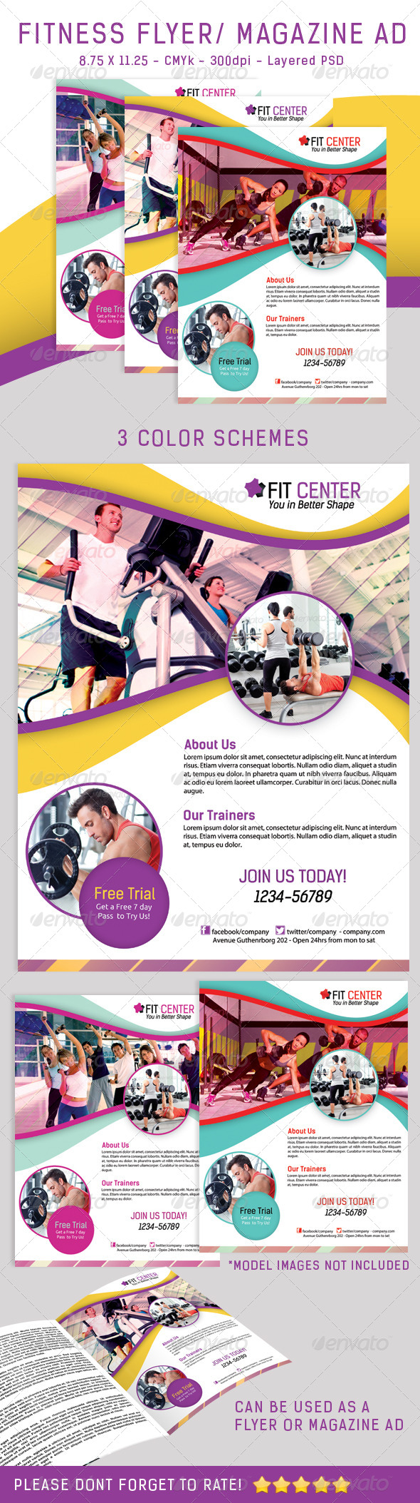 Fitness Flyer/ Magazine Ad In 3 Colors - Sports Events