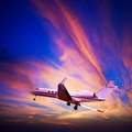 Private jet maneuvering in a sunset sky - PhotoDune Item for Sale