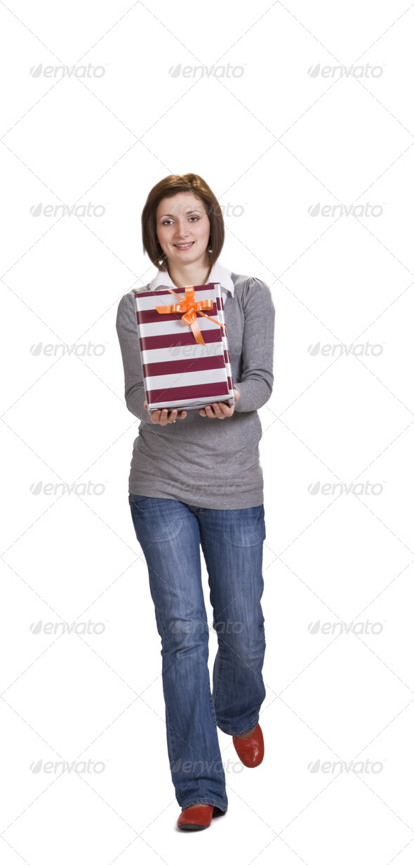 Woman with a Small Gift Box  - Stock Photo - Images