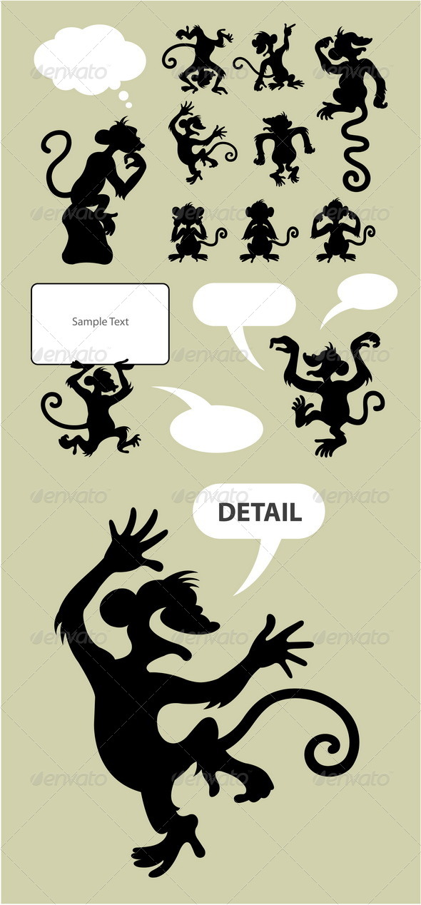 GraphicRiver Monkey Silhouettes 4669550