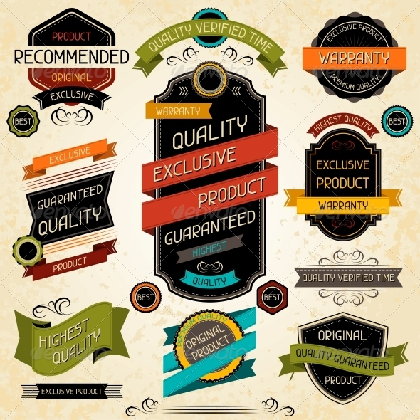 GraphicRiver Set of Premium Quality Labels and Stickers 4669603