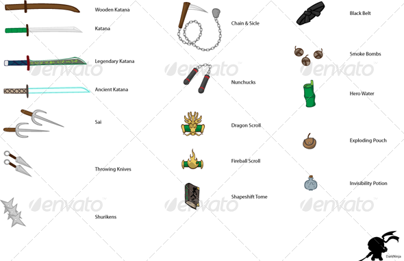 GraphicRiver RPG Ninja Game Items Weapons Bundle 4669860