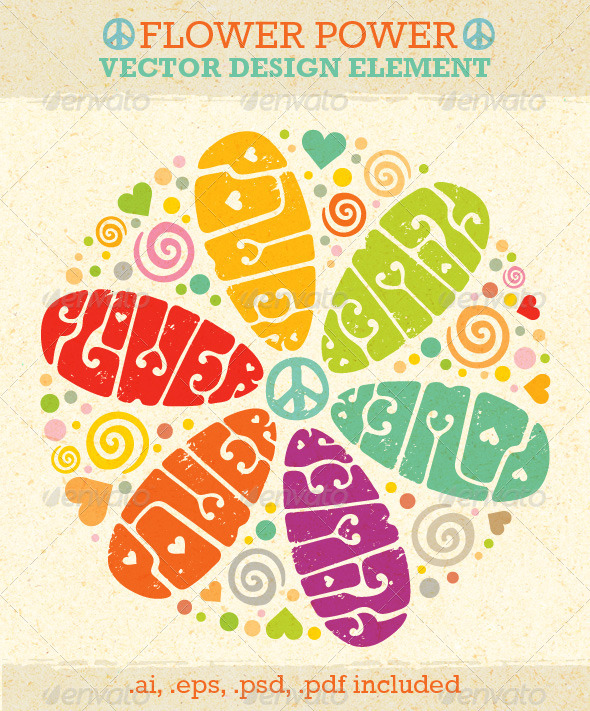 Flower Power Hippie Vector Design Element