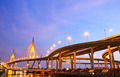 Bhumibol Bridge under twilight, Bangkok, Thailand - PhotoDune Item for Sale