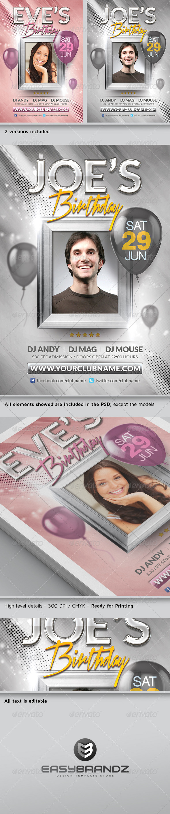 GraphicRiver Birthday Flyer Template 4596619