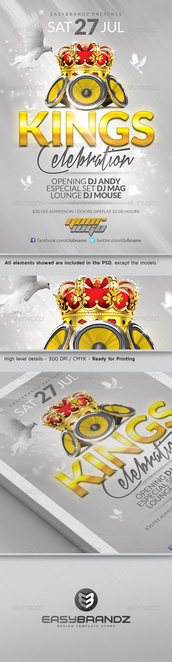 GraphicRiver Kings Celebration Flyer Template 4596636