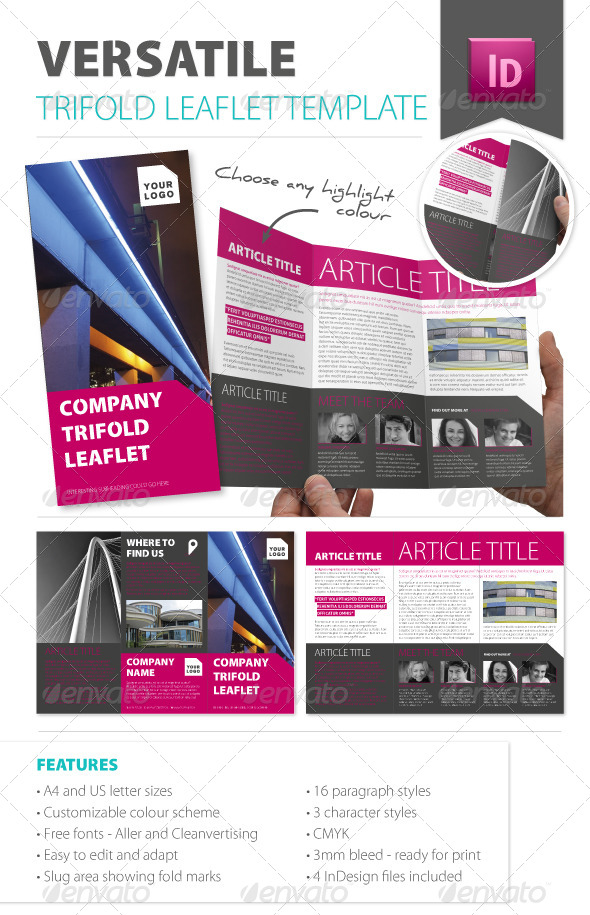 GraphicRiver Versatile Trifold Leaflet Template 4586283