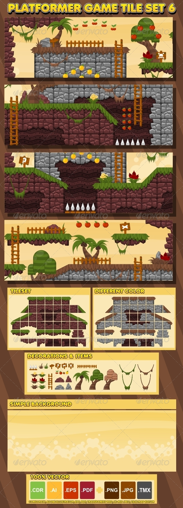 Platformer Game Tile Set 6 - Tilesets Game Assets