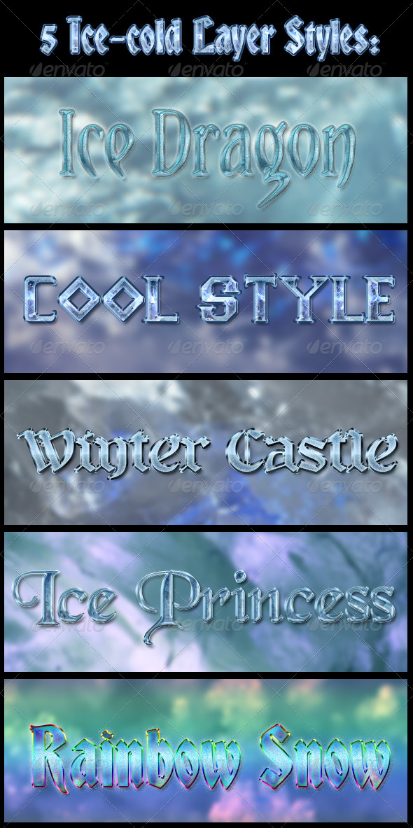 GraphicRiver 5 Ice-Cold Layer Styles 4671294