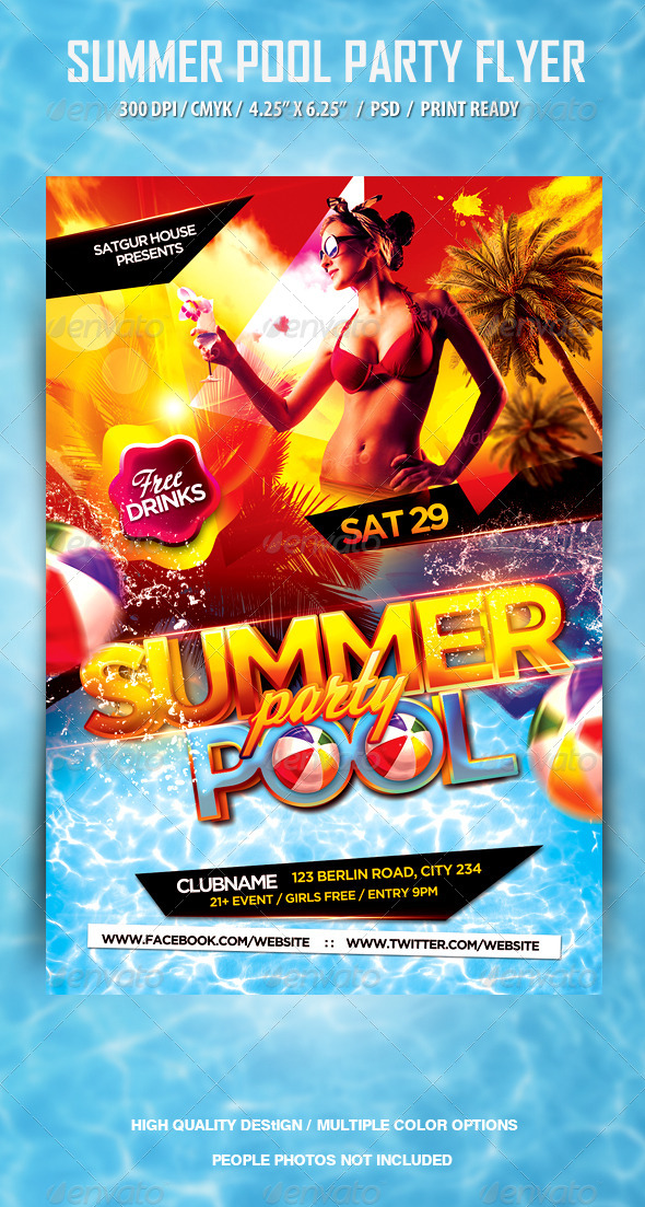 Free download pool party flyer psd for Club piscine flyer