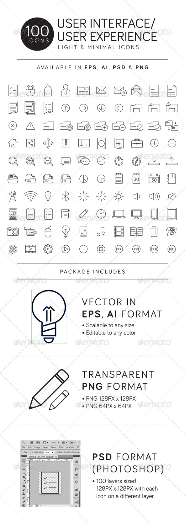 GraphicRiver 100 UI UX Thinicon Icons 4654424