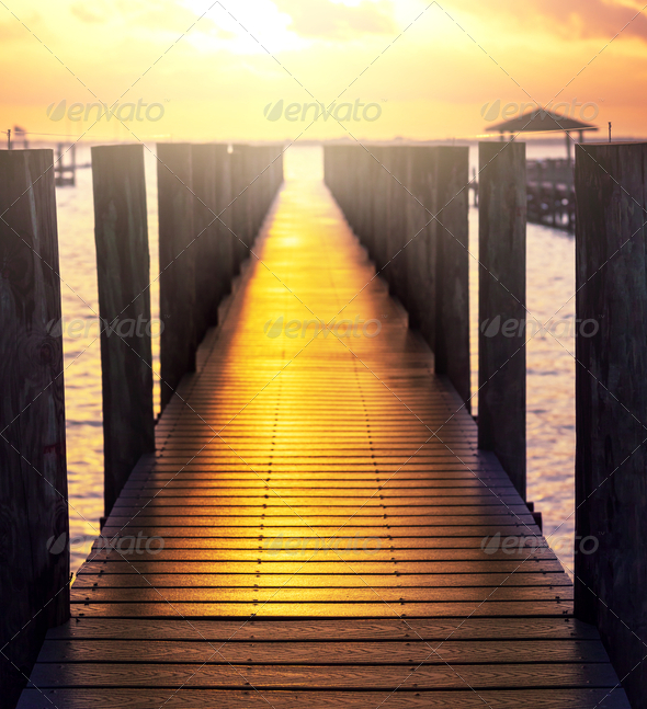 Boardwalk on beach - Stock Photo - Images