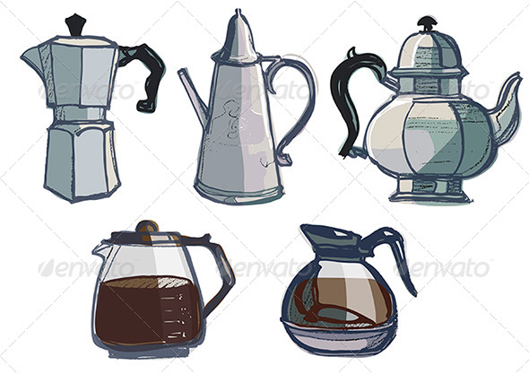 GraphicRiver Coffee Pots Jugs and Various Urns 4661809