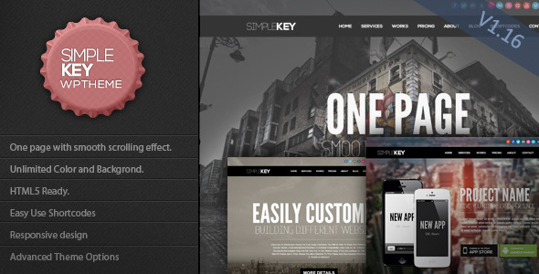 SimpleKey - One Page Portfolio WordPress Theme