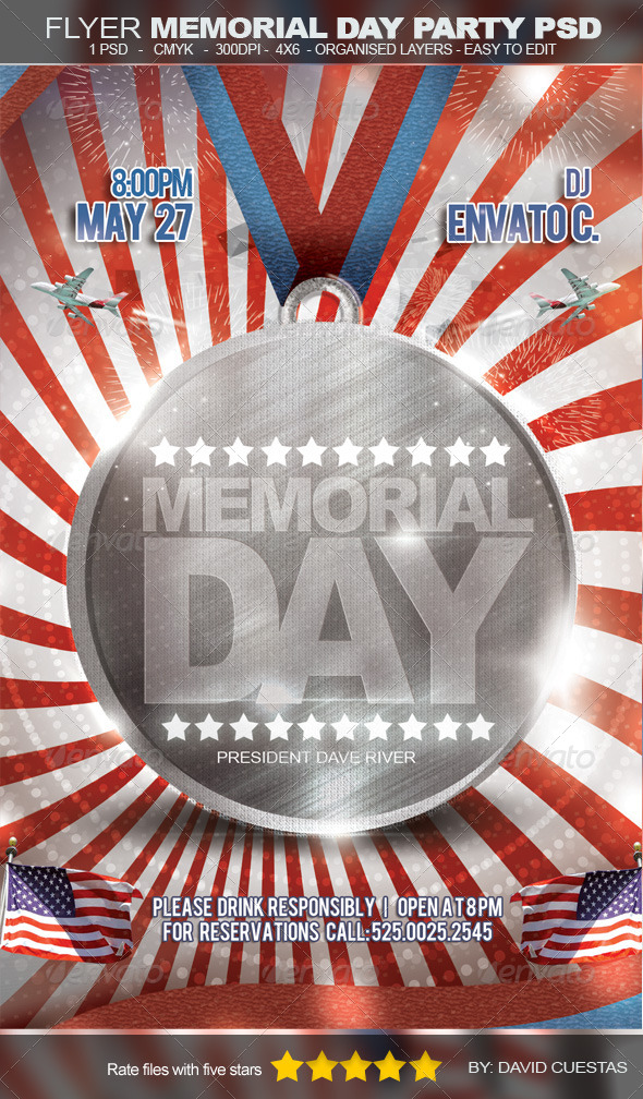 Flyer Memorial Day Party PSD