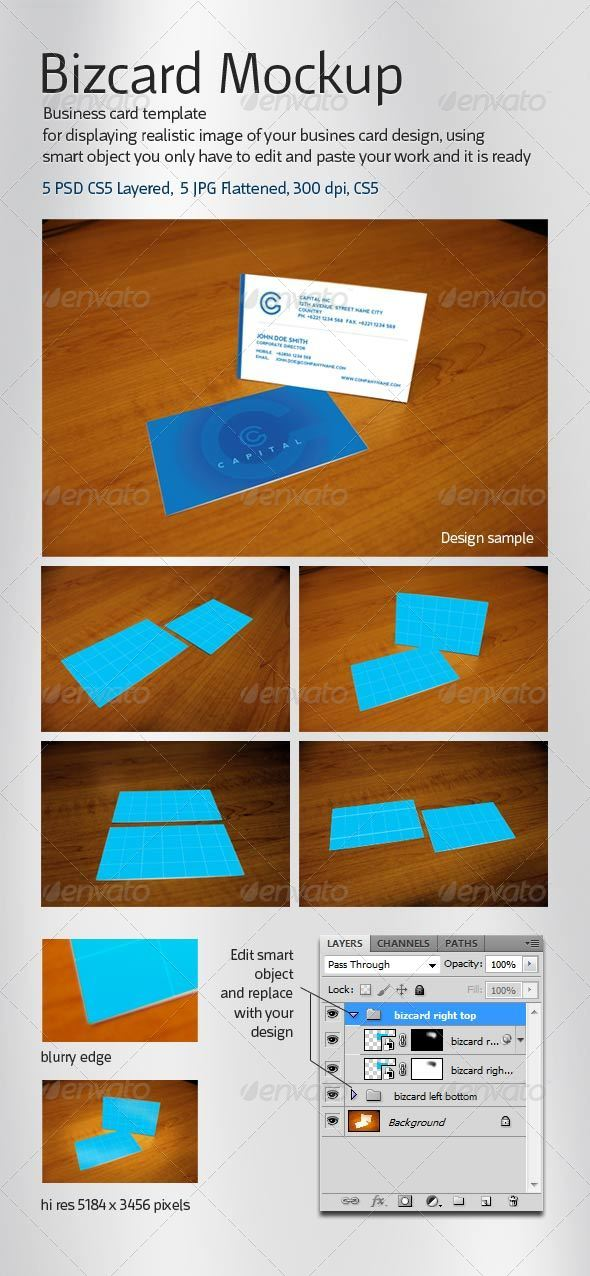 GraphicRiver Realistic 5 Business Card Mockup 4588403