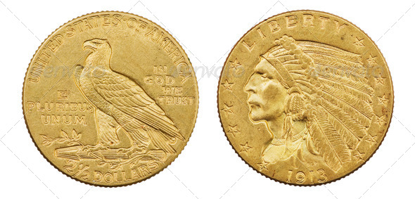 Gold Eagle Coin - Stock Photo - Images
