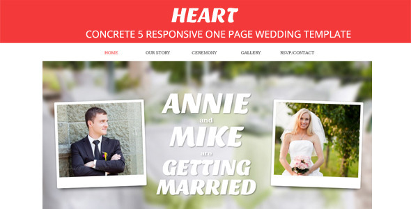 ThemeForest Heart Concrete5 One Page Wedding Theme 4672856