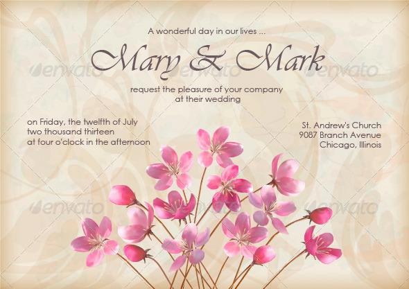 GraphicRiver Floral Decorative Wedding or Invitation Design 4674452