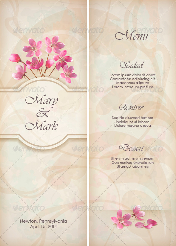 Floral Decorative Wedding Menu Template Design