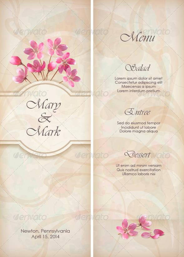 GraphicRiver Floral Decorative Wedding Menu Template Design 4674516