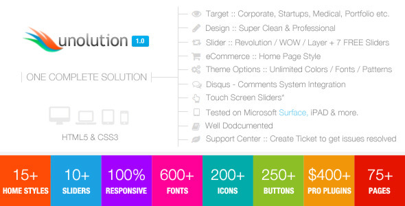 ThemeForest UNOLUTION One Complete Solution Responsive HTML5 4655264