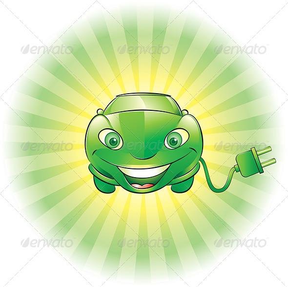 GraphicRiver Electric Car Mascot 4675962