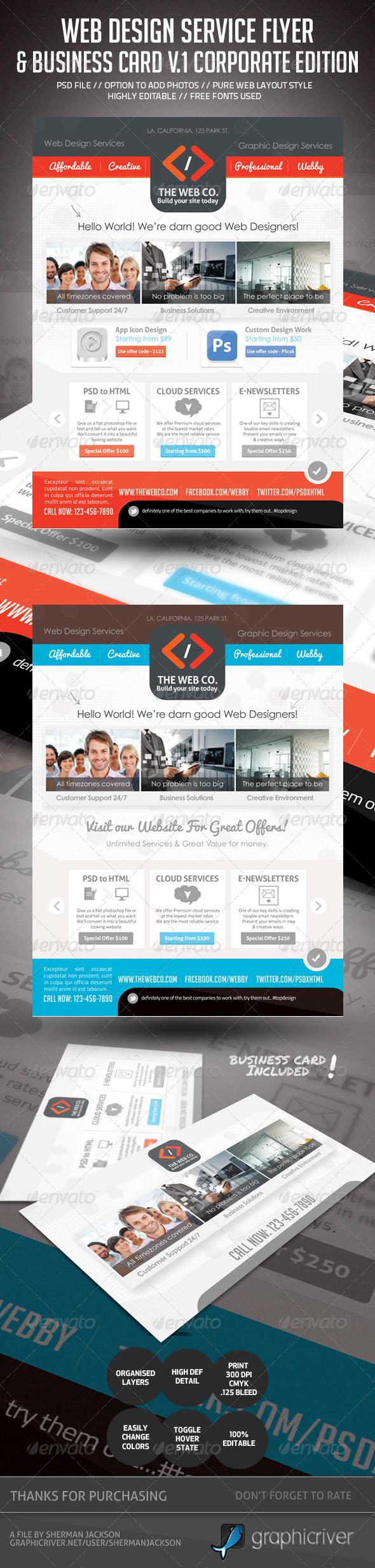 Web Design Service Set - 1 (Flyer & Business Card) - Commerce Flyers