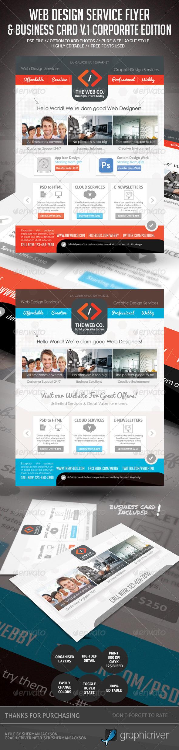 GraphicRiver Web Design Service Set 1 Flyer & Business Card 4605176