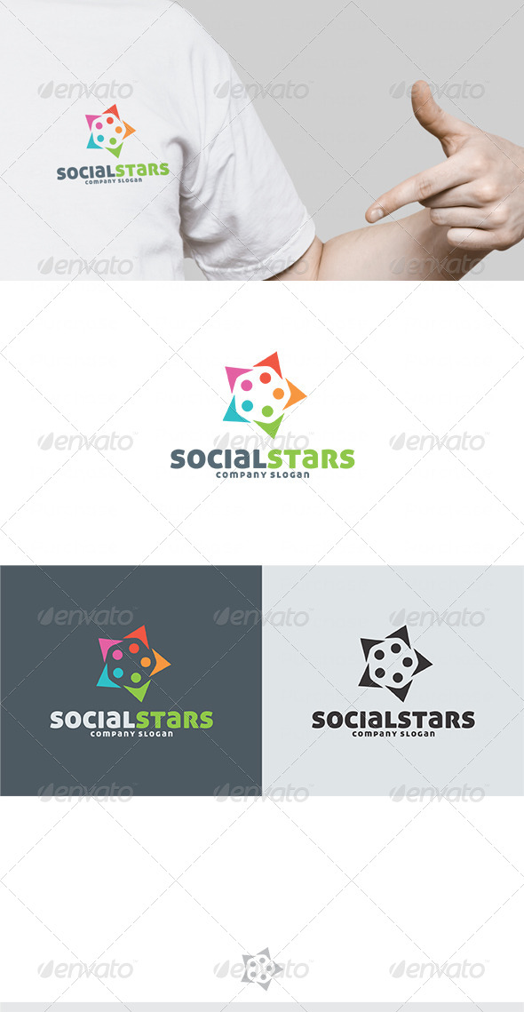 Social Stars Logo - Vector Abstract