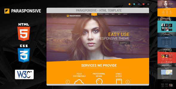 Parasponsive HTML5 / CSS3 professional website template